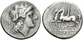 CAMPANIA. Suessa Aurunca . Circa 265-240 BC. Didrachm (Silver, 21 mm, 6.44 g, 6 h). Laureate head of Apollo to right; behind, wing. Rev. SVESAN[O] Dio...