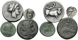 MAGNA GRAECIA, Campania and Calabria. (16.84 g). Four coins from Campania and Calabria. 1 . Neapolis. AR Didrachm/Nomos. 20 mm, 7.15 g. SNG ANS 352. 2...