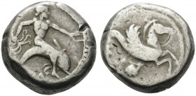 CALABRIA. Tarentum . Circa 490-480 BC. Nomos (Silver, 16 mm, 7.95 g, 9 h). [ΤΑΡΑΣ] Phalanthos, nude, riding dolphin to right, his left arm outstretche...