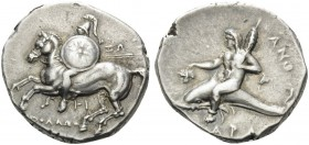 CALABRIA. Tarentum . Circa 280-272 BC. Stater (Silver, 21 mm, 6.59 g, 5 h), Apollo... and Anth.... Horseman with helmet and shield galloping to left. ...