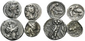 CALABRIA. Tarentum . (Silver, 6.12 g). Lot of Four AR Fractions From Tarentum. 1 . AR Drachm, 14mm, 3.10 g. HN III, 975. 2 . AR Diobol, 12 mm, 1.03 g....