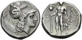 LUCANIA. Herakleia . Circa 330/25-281 BC. Stater (Silver, 19 mm, 7.94 g, 7 h). [ͰΗΡΑΚΛΗΙΩΝ] Head of Athena to right with Corinthian helmet adorned wit...