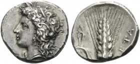 LUCANIA. Metapontum . Circa 330-290 BC. Didrachm or nomos (Silver, 20 mm, 7.88 g, 7 h). Head of Demeter to left. Rev. META Ear of barley, tongs and ΑΘ...
