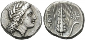LUCANIA. Metapontum . Circa 330-290 BC. Didrachm or nomos (Silver, 20 mm, 7.67 g, 5 h). Head of Demeter to right. Rev. META Ear of barley with [ΛΥ and...
