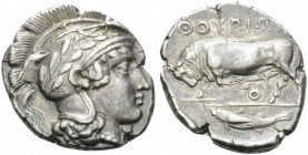 LUCANIA. Thourioi . Circa 443-400 BC. Stater (Silver, 22 mm, 7.79 g, 2 h). Head of Athena to right, her helmet adorned with olive wreath. Rev. ΘΟΥΡΙΩΝ...