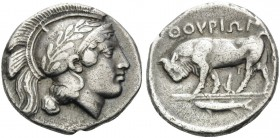 LUCANIA. Thourioi . Circa 443-400 BC. Stater (Silver, 22 mm, 7.68 g, 8 h), traditonally thought to have been engraved by Phrygillos (the name means 'f...