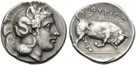 LUCANIA. Thourioi . Circa 443-400 BC. Stater (Silver, 20 mm, 7.85 g, 4 h). Head of Athena to left, wearing helmet adorned with Skylla. Rev. ΘΟΥΡΙΩΝ Bu...