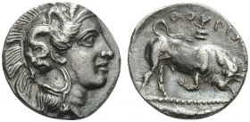 LUCANIA. Thourioi . Circa 350-300 BC. Triobol (Silver, 12 mm, 1.34 g, 9 h). Head of Athena to right, wearing Attic helmet adorned with skylla. Rev. ΘΟ...