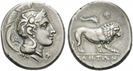 LUCANIA. Velia . Circa 300-280 BC. Nomos (Silver, 21 mm, 7.44 g, 1 h). Head of Athena to right, wearing helmet with griffin; Α - Φ. Rev. ΥΕ]ΛΗΤΩΝ Lion...