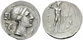 BRUTTIUM. The Brettii . Circa 216-214 BC. Drachm (Silver, 19 mm, 4.96 g, 5 h). Bust of Nike to right; behind, plectrum. Rev. ΒΡΕΤΤΙΩΝ River god facing...