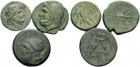 BRUTTIUM. (Bronze, 31.45 g). Lot of Three Bronze Coins of the Brettii and Valentia. 1 . Brettii. Drachm, 21 mm, 7.19 g. HN III, 1978. Scheu 13. 2 .Bre...