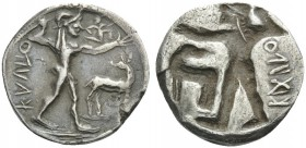 BRUTTIUM. Kaulonia . Circa 500-480 BC. 1/3 Stater (Silver, 15 mm, 2.63 g). ΚΑVΛΟ ( retrograde ) Apollo striding right; to right, stag. Rev. ΚΑVΛΟ ( re...