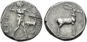 BRUTTIUM. Kaulonia . Circa 475-425 BC. Stater (Silver, 20 mm, 7.90 g, 8 h). ΚΑV Apollo striding to right. Rev. Stag standing right. Noe, Caulonia 75g ...