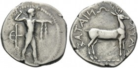 BRUTTIUM. Kaulonia . Circa 400-389/8 BC. Stater (Silver, 23 mm, 7.28 g, 7 h). Apollo standing right; behind, bird trap. Rev. ΚΑΥΛΩΝΙΑΤΑΣ Stag to right...