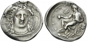 BRUTTIUM. Kroton . Circa 400-325 BC. Stater (Silver, 24 mm, 7.71 g, 6 h). Head of Hera facing, turned slightly to right. Rev. ΚΡΟΤΩΝΙΑΤΑΣ Herakles sea...
