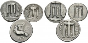 BRUTTIUM. Kroton . (Silver, 18.92 g). Lot of Three Silver Coins from Kroton. 1 . Stater. 20 mm, 8.02,. SNG ANS 272. 2 . Drachm, 18 mm, 2.49 g. SNG ANS...