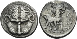 BRUTTIUM. Rhegion . Circa 435-425 BC. Tetradrachm (Silver, 27 mm, 16.91 g, 1 h). Lion's mask facing. Rev. RΕCΙΝΟS ( retrograde Iokastos seated left. H...