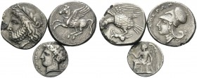 BRUTTIUM. (Silver, 16.46 g). Lot of Three Silver Coins of Lokroi Epizephyrioi and Terina: 1 . Lokroi Epizephyrioi. Plated Stater, 21mm 6.25 g. HN III,...