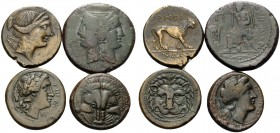 BRUTTIUM. Rhegion . (Bronze, 32.87 g). Lot of Four Bronze Coins of Rhegium. 1 . 21 mm, 6.79 g. HN III, 2534a. 2 . 21 mm, 7.08 g. HN III, 2534a. 3 . 22...