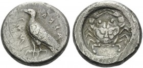 SICILY. Akragas . Circa 500-495 BC. Didrachm (Silver, 19 mm, 8.80 g, 6 h). AKRACANTOΣ Eagle standing left. Rev. Crab seen from above. Jenkins, Gela gr...