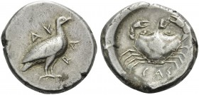 SICILY. Akragas . Circa 480/478-470 BC. Didrachm (Silver, 20 mm, 8.66 g, 3 h). AKRA Eagle standing right. Rev. CAΣ Crab seen from above. Jenkins, Gela...