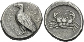 SICILY. Akragas . Circa 465/4-446 BC. Tetradrachm (Silver, 26 mm, 17.06 g, 5 h). AKRACANTOΣ Eagle standing to left. Rev. Crab seen from above. Lee Gro...