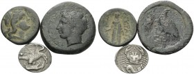 SICILY. Akragas . (25.36 g). Lot of One Silver and Two Bronze Coins. 1 . AR Hemidrachm, 16 mm, 1.90 g, 12h. SNG ANS 1014 ( same obverse die ). SNG Mun...