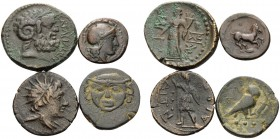 SICILY. (30.21 g). Lot of Four Sicilian Bronze Coins. 1 . Aitna. AE Trias, 19 mm, 4.08 g 12h. SNG ANS 1160. SNG Munich 28-34. 2 . Kamarina, AE Trias, ...