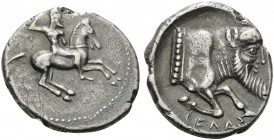 SICILY. Gela . Circa 490/85-480/75 BC. Didrachm (Silver, 22 mm, 8.32 g, 3 h). Nude horseman riding to right. Rev. CEΛAΣ Forepart of man-headed bull to...