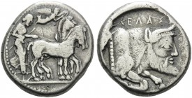 SICILY. Gela . Circa 480/75-475/70 BC. Tetradrachm (Silver, 24 mm, 16.81 g, 12 h). Quadriga driven slowly to right by a bearded charioteer; above, Nik...