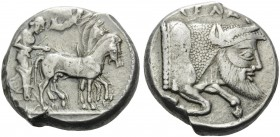 SICILY. Gela . Circa 480/75-475/70 BC. Tetradrachm (Silver, 23 mm, 17.28 g, 10 h). Quadriga driven slowly to right by a bearded charioteer; above, Nik...