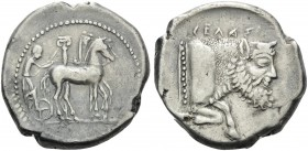 SICILY. Gela . Circa 465-450 BC. Tetradrachm (Silver, 26 mm, 17.11 g, 7 h). Charioteer slow quadriga to right; behind, column with Ionic capital. Rev....