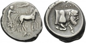 SICILY. Gela . Circa 420-415 BC. Tetradrachm (Silver, 26 mm, 16.66 g, 3 h). Charioteer driving quadriga to right; above, Nike flying to right, crownin...