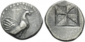 SICILY. Himera . Circa 530-483/2 BC. Drachm (Silver, 21 mm, 5.39 g). Rooster standing right. Rev. Incuse square with mill-sail pattern enclosed within...