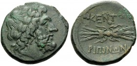 SICILY. Kentoripai . Circa 214-210 BC. Tetrachalkon (Bronze, 26 mm, 11.44 g, 8 h). Laureate head of Zeus to right. Rev. KENTO-PIΠINΩN Thunderbolt. Cam...