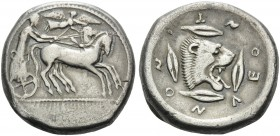 SICILY. Leontini . Circa 476-466 BC. Tetrachalkon (Silver, 26 mm, 16.99 g, 9 h). Bearded charioteer driving quadriga galloping to right. Rev. ΛEONTINO...