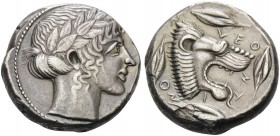 SICILY. Leontini . Circa 450-440 BC. Tetradrachm (Silver, 22 mm, 17.13 g, 2 h). Laureate head of Apollo to right. Rev. VΕΟ-ΝΤ-Ι-ΝΟ-Ν Lion's head with ...