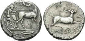 SICILY. Messana . 450-446 BC. Tetradrachm (Silver, 27 mm, 17.31 g, 6 h). Charioteer driving biga of mules walking to right; in exergue, olive leaf wit...