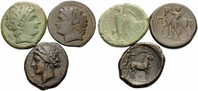 SICILY. (Bronze, 37.01 g). Lot of Three Bronze Coins of Messana and of the Mamertinoi. 1 . Messana. AE Litra, 28 mm, 12.49 g, 10h. SNG ANS 385-388, SN...