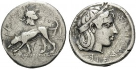 SICILY. Segesta . Circa 420 BC. Didrachm (Silver, 21 mm, 8.27 g, 10 h). Hound standing left; above, head of the nymph Segesta to left. Rev. ΣEΓEΣΖAΖIB...