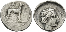 SICILY. Segesta . Circa 415 BC. Didrachm (Silver, 22 mm, 8.45 g, 4 h). Hound standing right; above, head of the nymph Segesta to right. Rev. EΓEΣΣΤΑΙΟ...