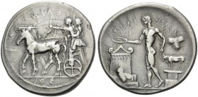 SICILY. Selinos . Circa 455-409 BC. Tetradrachm (Silver, 30 mm, 16.88 g, 9 h). ΣΕΛΙΝΟΝΤΙΟΣ (retrograde) Apollo and Artemis standing left in a quadriga...