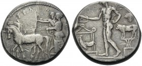 SICILY. Selinos . Circa 455-409 BC. Tetradrachm (Silver, 26 mm, 17.02 g, 12 h). ΣΕΛΙΝΟΝΤΙΟΣ (retrograde) Apollo and Artemis standing left in a quadrig...
