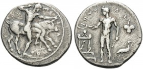 SICILY. Selinos . Circa 455-440 BC. Didrachm (Silver, 23 mm, 8.28 g, 8 h). ΣEΛINOTION Herakles standing right, holding club overhead, preparing to str...