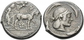 SICILY. Syracuse . Deinomenid Tyranny, 485-466 BC. Tetradrachm (Silver, 24 mm, 16.90 g, 7 h). Charioteer driving a quadriga walking to right; above Ni...