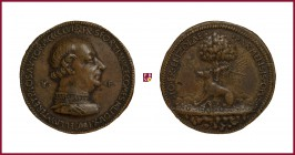 Milan, Francesco I Sforza (1450-1466), CONTEMPORARY CAST cast bronze medal, (1456), 35,48 gr., 41.5 mm, opus: G. F. Enzola, bust right/greyhound left,...