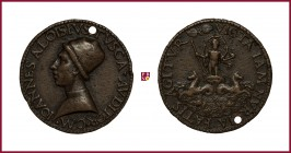 Milan, Giovanni Alvise Toscani (1450-1478), jurist, orator and poet, early aftercast bronze medal, 36 gr. , 42 mm, opus: Lisippo il Giovane, bust left...