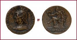 Naples, Andrea Carafa (1496-1526), viceroy of Naples in 1525, CONTEMPORARY CAST bronze medal, 31 gr., 38 mm, opus: G. Santacroce; bust left/Prudence s...