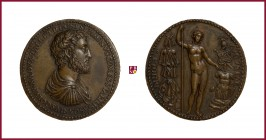Naples, Ascanio Colonna (1520-1557), duke of Tagliacozzo (1500-1557), STRUCK bronze medal, 36,15gr; 37 mm; Constable in Naples; bust right/female figu...