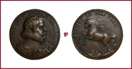 Naples, Pedro Gyron y Telles, Duke of Osuna, Viceroy of Naples (1615-20), early aftercast bronze medal, (1618), 32 gr.; 41 mm; opus: G. di Grazia, bus...
